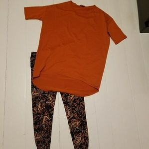 Xs orange Irma and is leggings to match